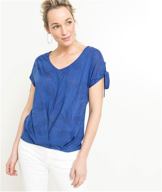 T-shirt femme bleu tropical BLEU