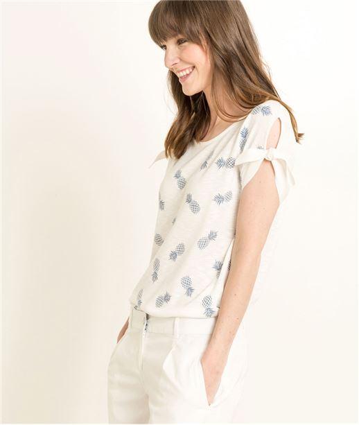 T-shirt femme motifs ananas BLANC CASSE