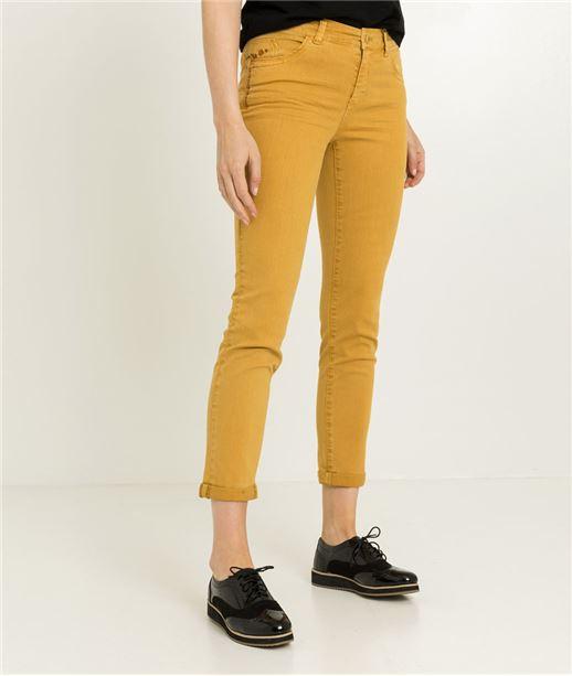 Pantalon raccourci femme couleur CURRY