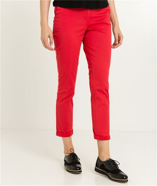 Chino femme couleur uni ROUGE