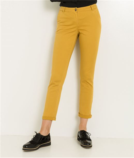 Chino femme couleur uni CURRY