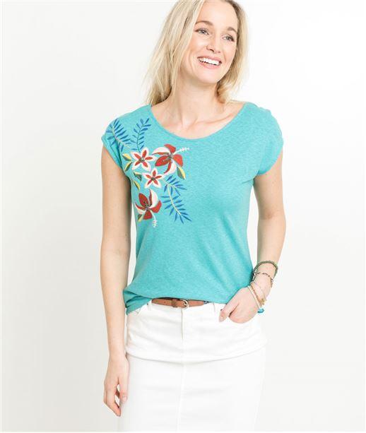 T-shirt femme broderie et corset TURQUOISE