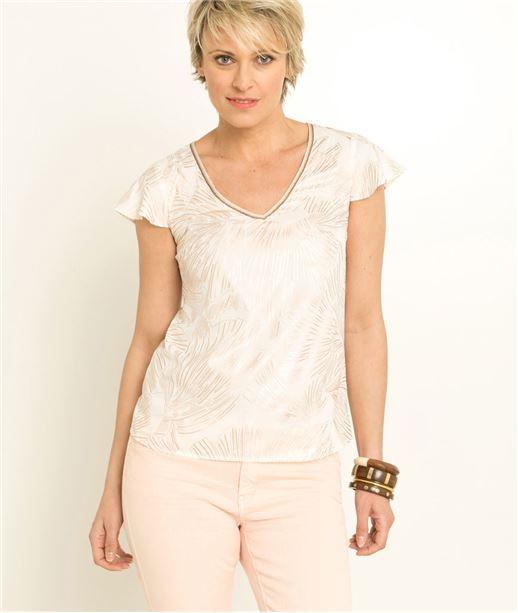 T-shirt femme blanc imprimé cuivré CUIVRE