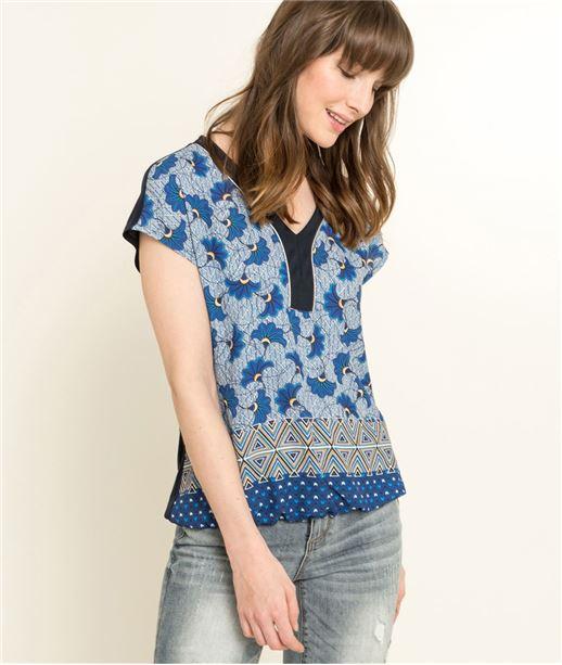 T-shirt femme imprimé wax MARINE