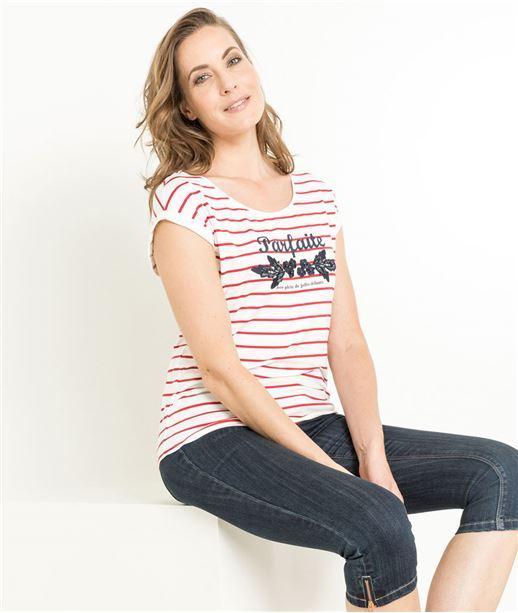 T-shirt femme rayures et message ROUGE