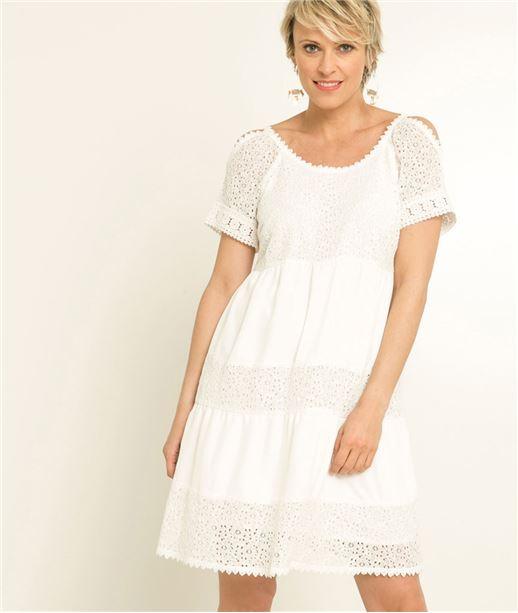 Robe femme blanche dentelle broderies BLANC