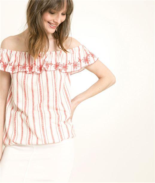 T-shirt femme à rayures encolure bardot BLANC