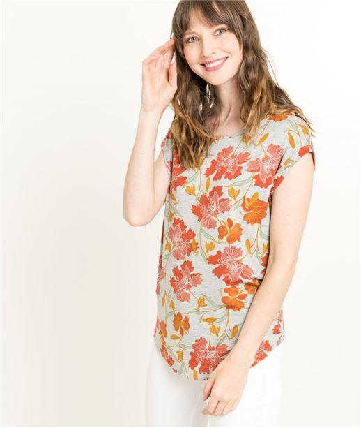 T-shirt femme imprimé fleurs ORANGE