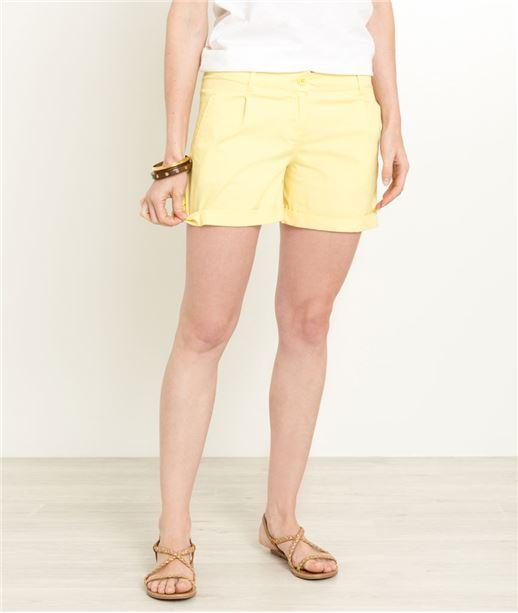 Short femme coloré uni JAUNE