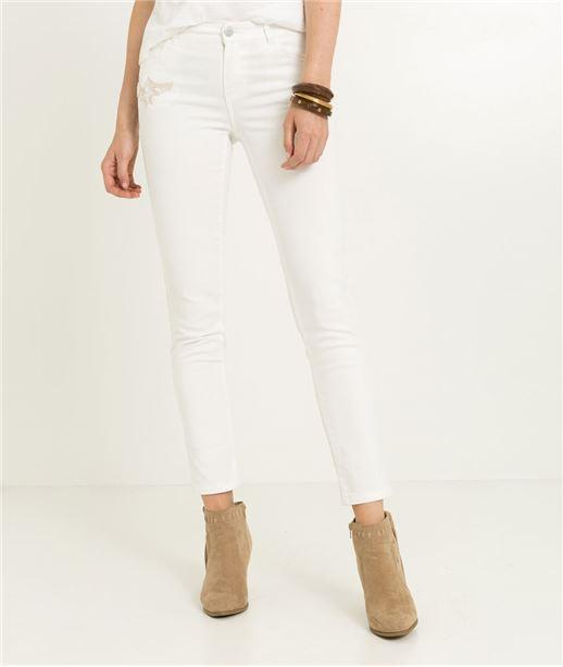 Pantalon femme denim blanc BLANC