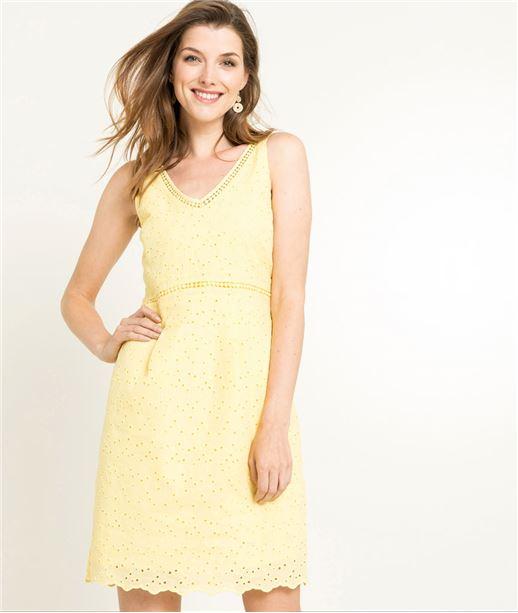 Robe femme jaune broderie anglaise JAUNE