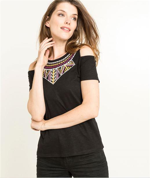 T-shirt femme noir manches courtes brodé NOIR