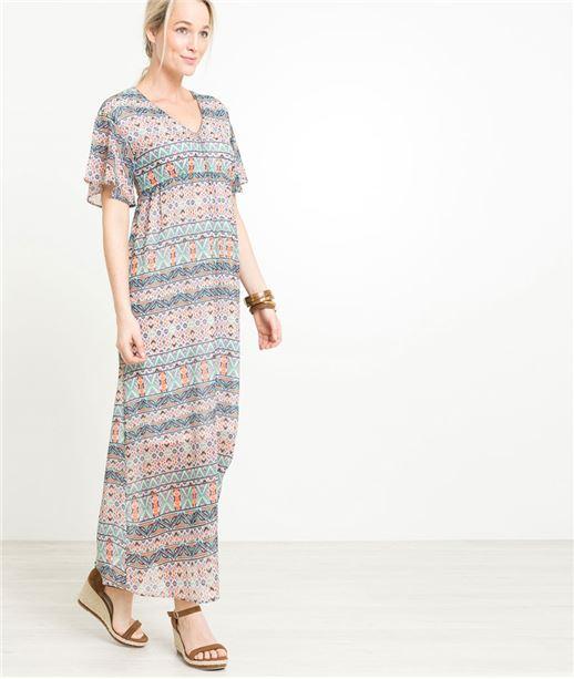 Robe femme longue imprimée ECRU