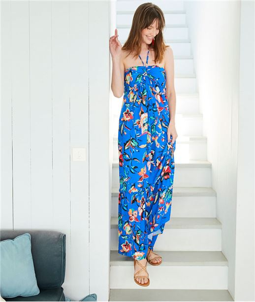 Robe longue femme bleu fleurie BLEU