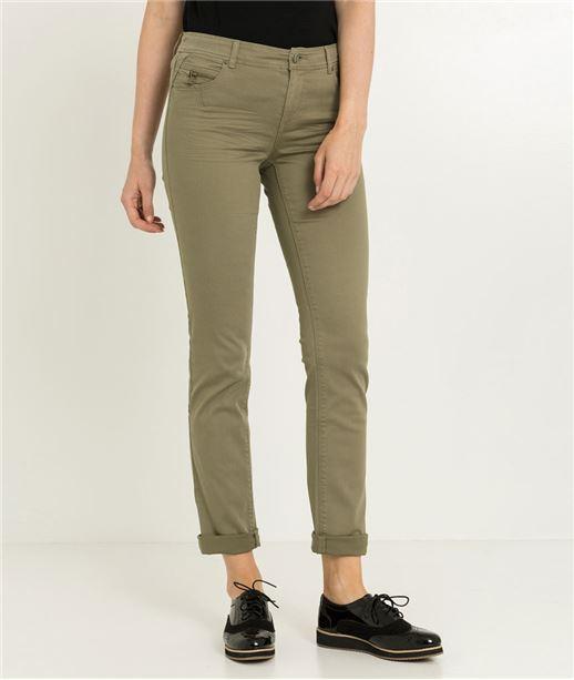 Pantalon femme droit couleur uni KAKI