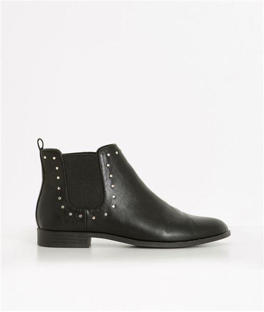 Boots femme noires unies avec clous NOIR