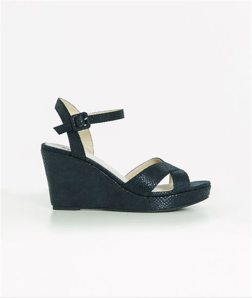 Sandales femme compensées bleu BLEU