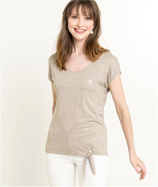 T-shirt femme col V et noeud BEIGE