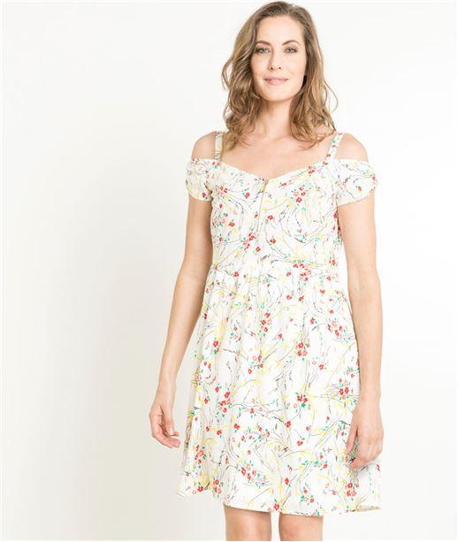 Robe femme fluide imprimé floral ECRU