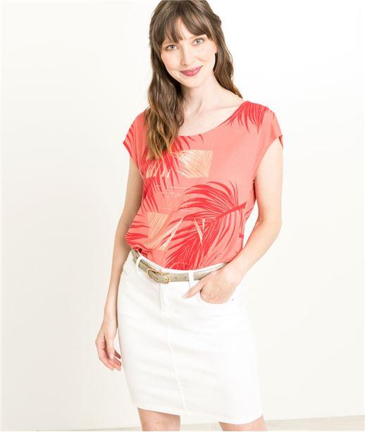 T-shirt femme rouge imprimé feuillages CAPUCINE