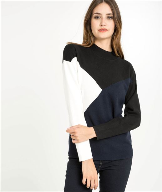 Pull femme graphique col montant MARINE