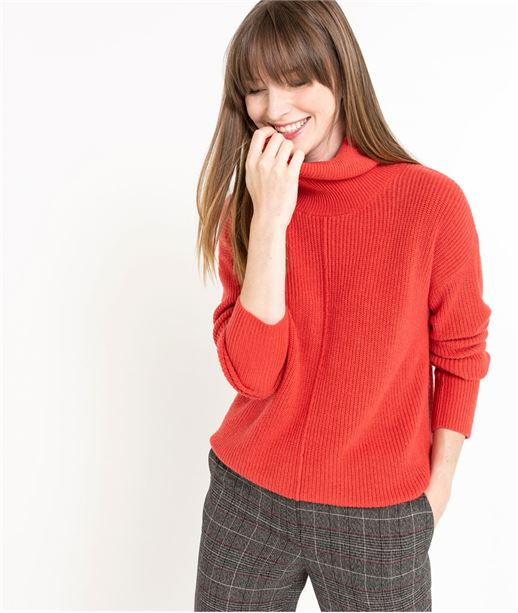 Pull femme rouge col boule ROUGE