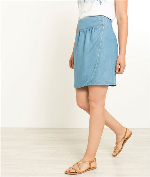 Jupe femme courte tencel bleu STONE