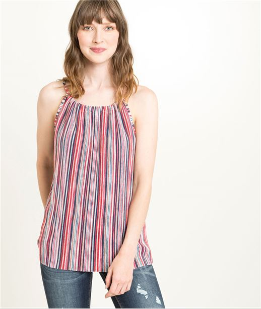 Top femme rayures multicolores MULTICOLORE