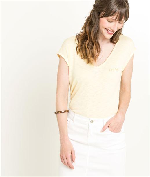 T-shirt femme jaune ouvert dans le dos JAUNE