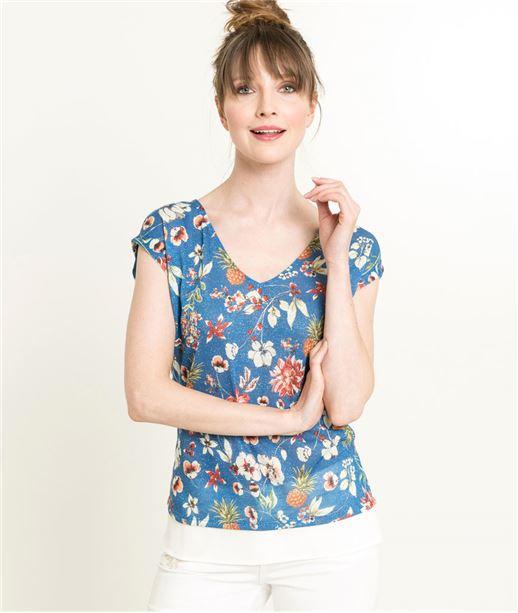 T-shirt femme fleuri et noeud BLEU