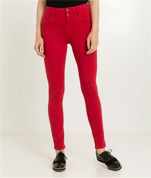 Pantalon femme slim taille haute ROUGE