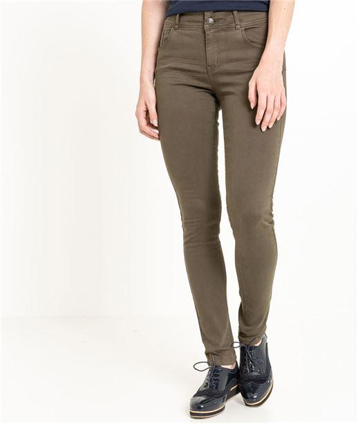 Pantalon femme slim taille haute KAKI