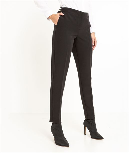 Pantalon tailleur femme noir et rayures NOIR