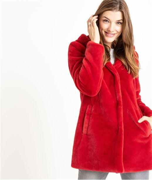 Manteau femme fausse fourrure rouge ROUGE