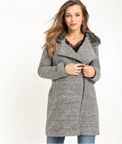 Manteau femme avec fausse fourrure GRIS