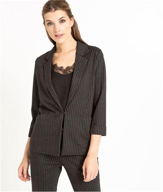 Veste tailleur noire avec rayures GRIS FONCE