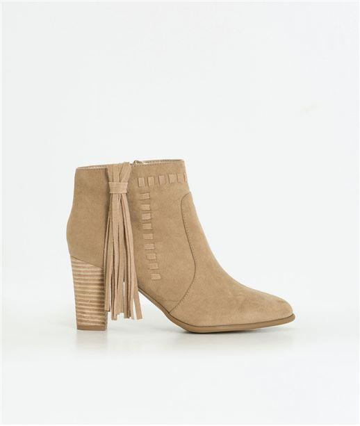 Boots femme à talon avec pompon BEIGE