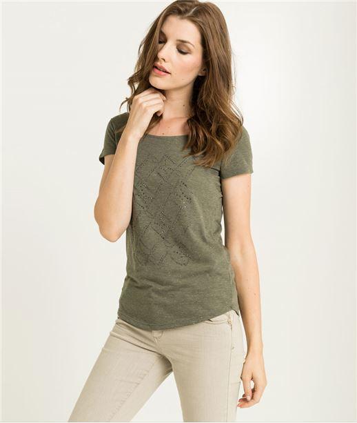 T-shirt femme kaki avec strass KAKI