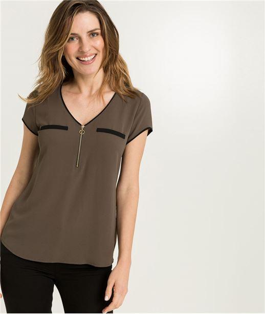 T-shirt femme uni avec zip KAKI