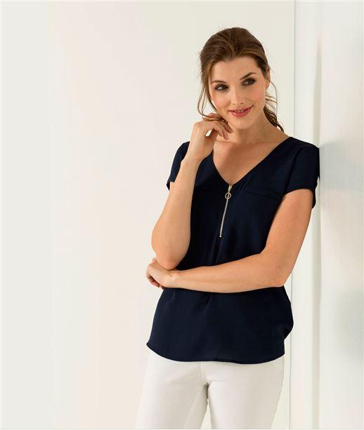 T-shirt femme uni avec zip MARINE