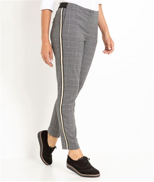 Pantalon femme droit à carreaux gris GRIS CLAIR