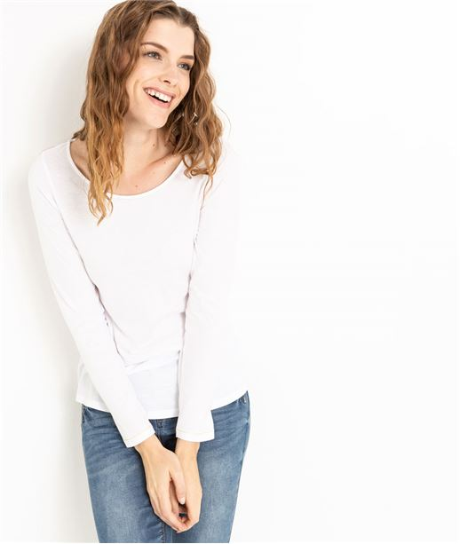 T-shirt femme manches longues BLANC