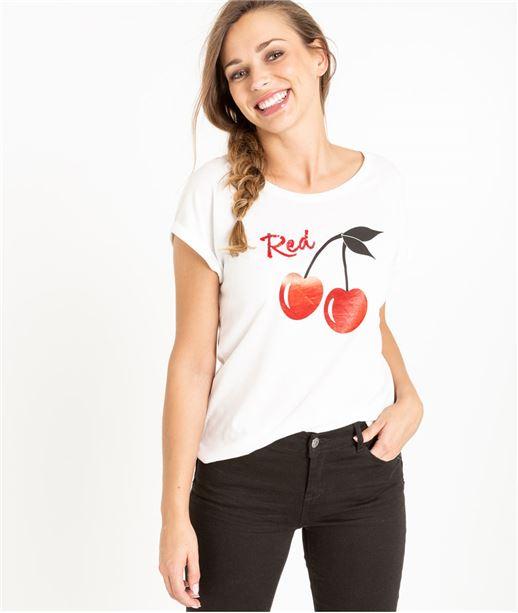 T-shirt femme cerise et sequins ECRU