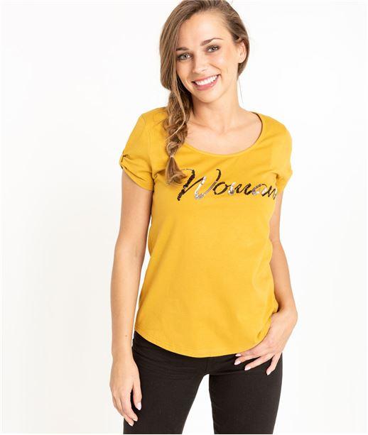 T-shirt femme jaune message Woman SAFRAN