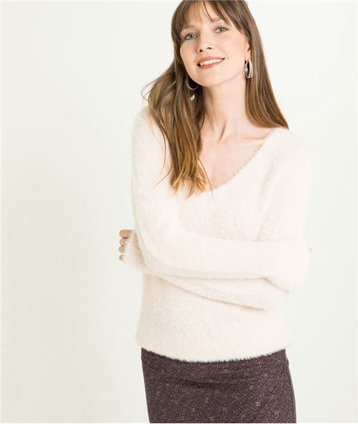 Pull femme poilu manches longues ROSE