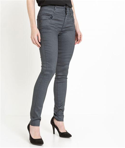 Pantalon femme enduit taille haute GRIS FONCE