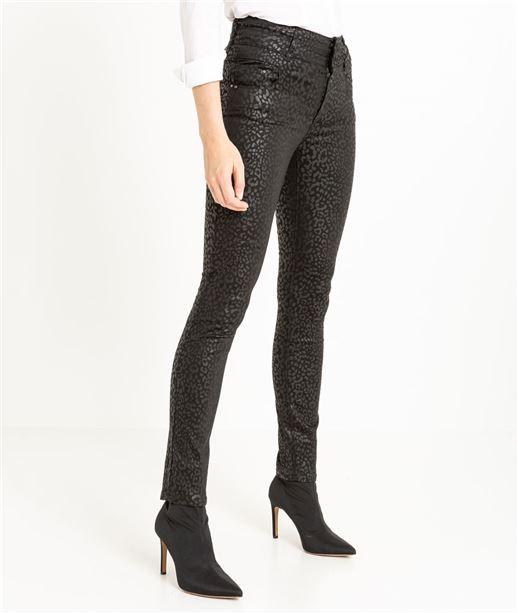 Pantalon femme enduit taille haute IMPRIME