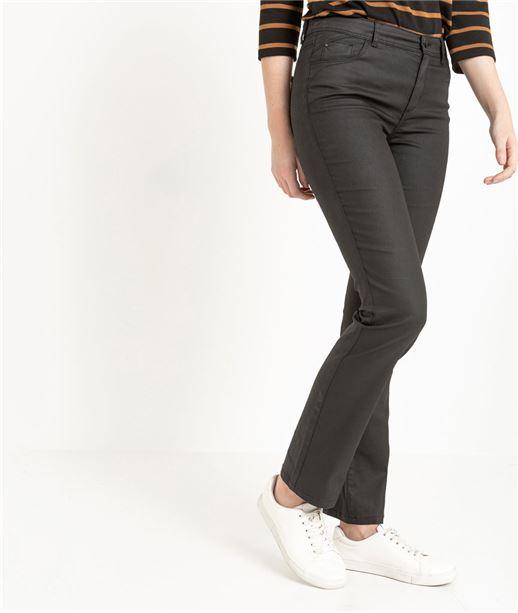 Pantalon femme droit enduit noir NOIR