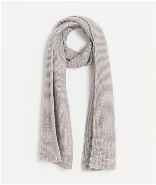 30095082b0f Echarpe femme grise avec perles blanches GRIS