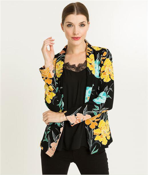 Veste blazer femme imprimé fleurs NOIR